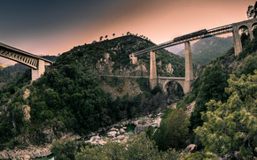 Mountains, bridge, trees