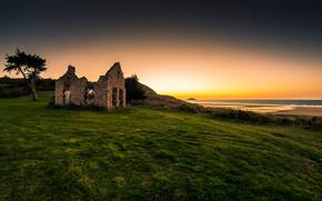 руины, здание, поле, закат
