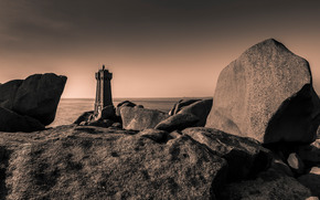 маяк, камни, сепия, монохром, море