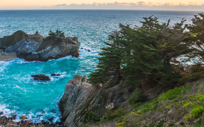 McWay Falls, Julia Pfeiffer Burns State Park, California's Big Sur region, sunset, sea, shore, waterfall, landscape, panorama
