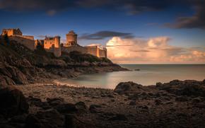 mar, costa, puesta del sol, cielo, castillo, torre