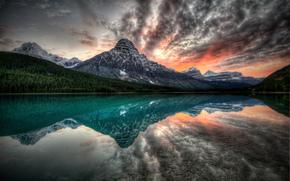 tramonto, lago, Montagne, paesaggio