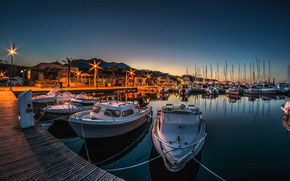 Boat, wharf, night, sea, lights
