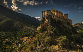 castle, Mountains, sky, structure