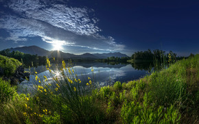 sky, clouds, Mountains, pond, shore, greens