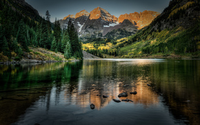 lago, Montañas, árboles, paisaje