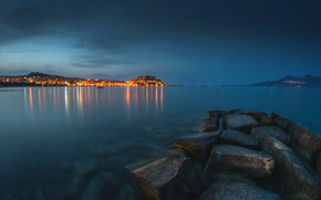 sea, stones, shore, city, lights