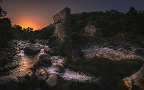 речка, камни, руины, закат