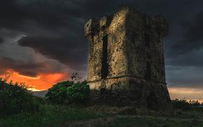 башня, руины, тучи, мрачно, закат