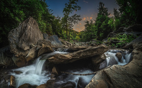 Wasserfall, Bäume, Himmel, Steine