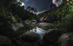 pond, stones, sky