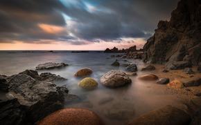 море, камни, берег, тучи, скалы