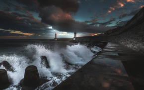 sea, waves, storm, lighthouse, CLOUDS