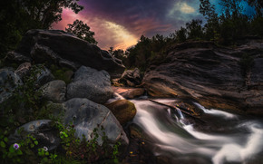 водопад, камни, вечер