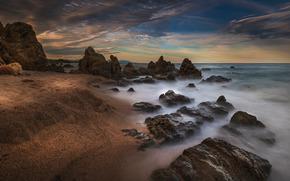 море, камни, скалы, берег, небо