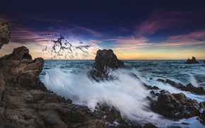 море, волны, камни, небо, вечер