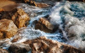 石, 波浪, 海, 風景