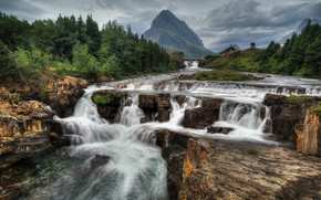 Glacier National Park, Montana, waterfall, Rocks, landscape