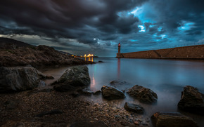 sea, stones, sky, CLOUDS, shore, lighthouse