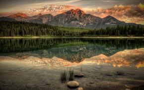 tramonto, lago, Montagne, alberi, paesaggio