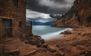 sea, stones, sky, CLOUDS, shore, home, ruins
