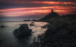 sea, stones, sky, CLOUDS, shore