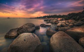 море, камни, небо, тучи, берег