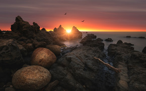 sea, stones, sky, shore, sunset, birds