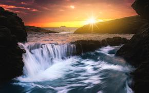 mare, pietre, cielo, puntellare, cascata, tramonto
