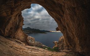 море, скалы, арка, тучи