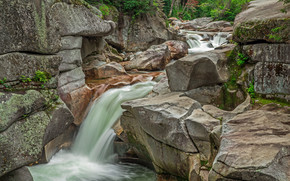 NH, White Mountain National Forest, waterfall, Rocks, landscape
