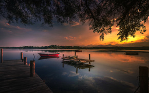 водоем, небо, лодка, закат