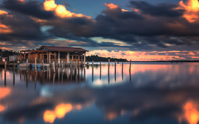 pond, structure, CLOUDS, sunset, sky, reflection