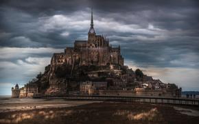 замок, тучи, архитектура