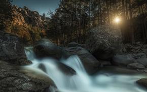 cascada, bosque, piedras, sol