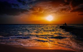 sunset, sea, waves, shore, landscape