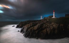 маяк, море, берег, скалы, ночь