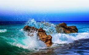 закат, море, волны, берег, скалы, брызги, пейзаж