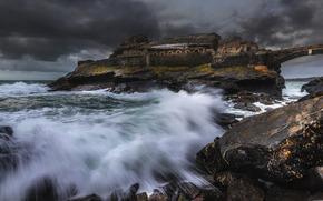 море, скалы, волны, шторм, тучи, камни