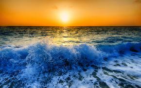 zachód słońca, morze, fale, Brzeg, krajobraz