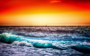 日落, 海, 波浪, 岸, 景观