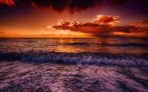 закат, море, волны, берег, пейзаж