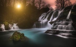 waterfall, sun, Rocks