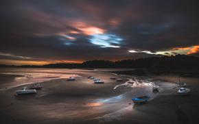 sea, shore, Boat, CLOUDS, night
