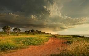 campo, stradale, cielo, paesaggio