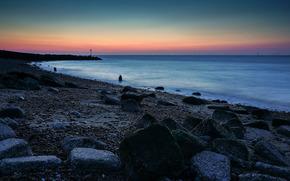 ケントの北海岸に, 日没, 海, 風景