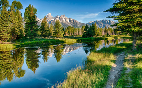 river, forest, Mountains, trees, landscape