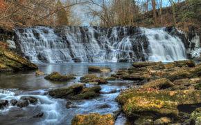 cascata, Rocce, fiume, alberi, paesaggio