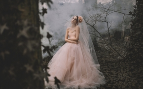 Lauren Hallworth, bride, Wedding Dress, dress, veil, forest, mood, situation