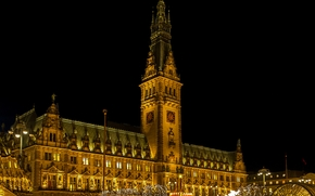Hamburger Rathaus, Hamburg, city, night